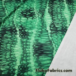 Abstract Green and Black Dragon Skin Print Poly Spandex Fabric for Cosplay and Apparel Items  Fabric