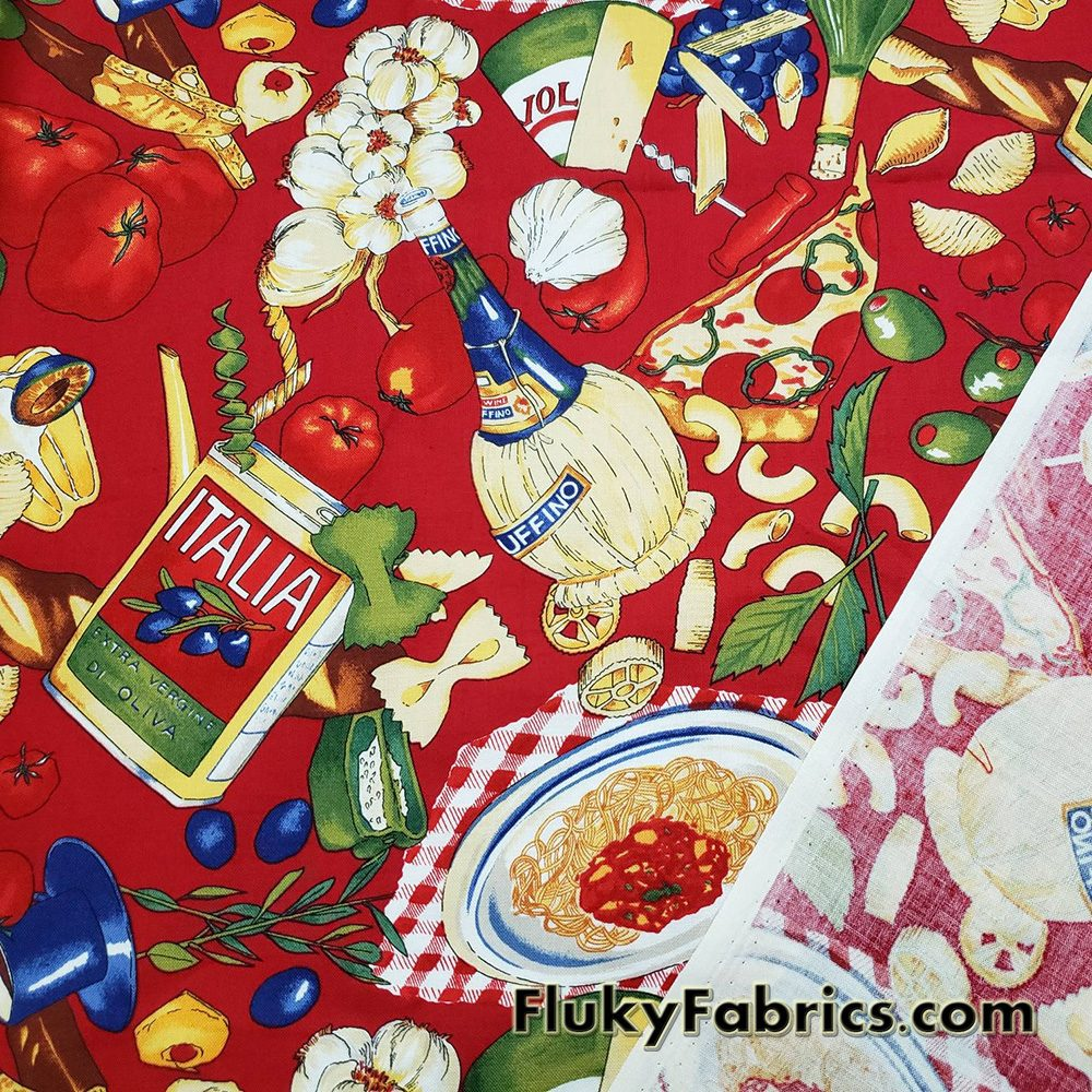 Italian Foods Print on Red Cotton Woven Apparel Fabric  Fabric